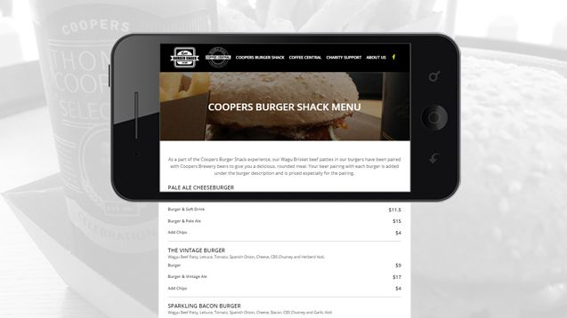 Web Design - Coopers Burger Shack and Coffee Central Portfolio