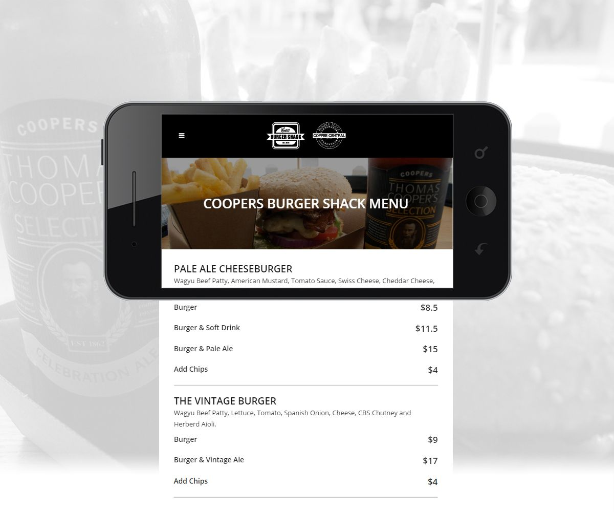 Mobile view of Coopers Burger Shack and Coffee Central for Mobile