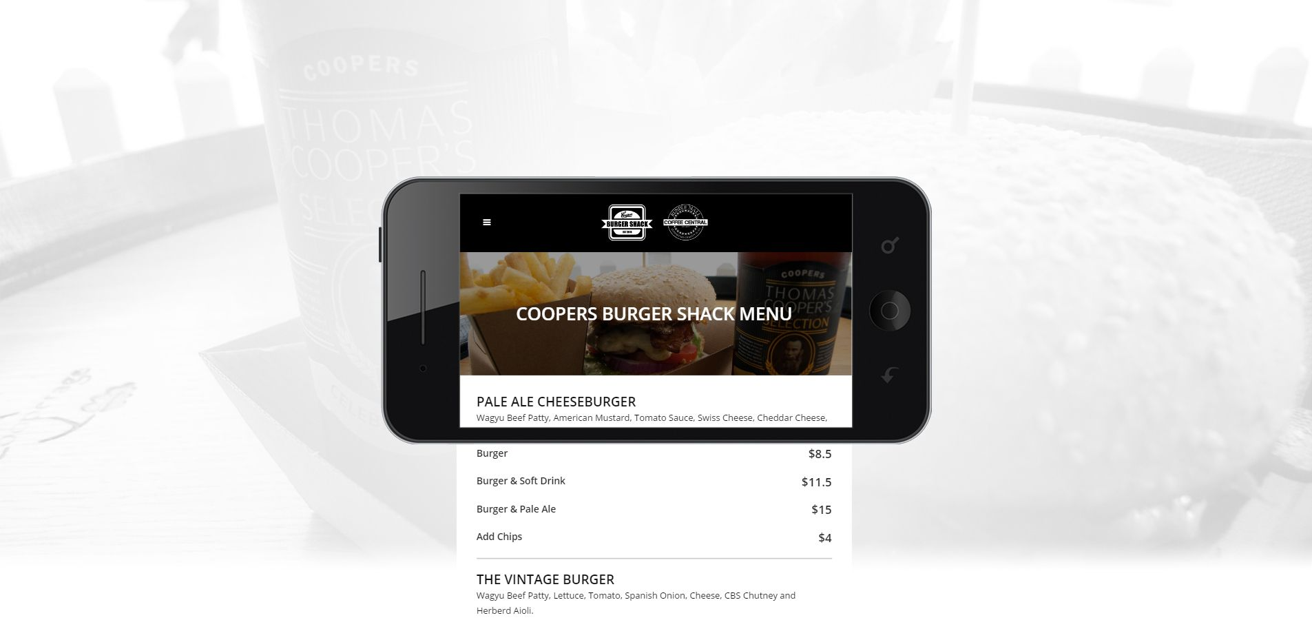 Mobile view of Coopers Burger Shack and Coffee Central