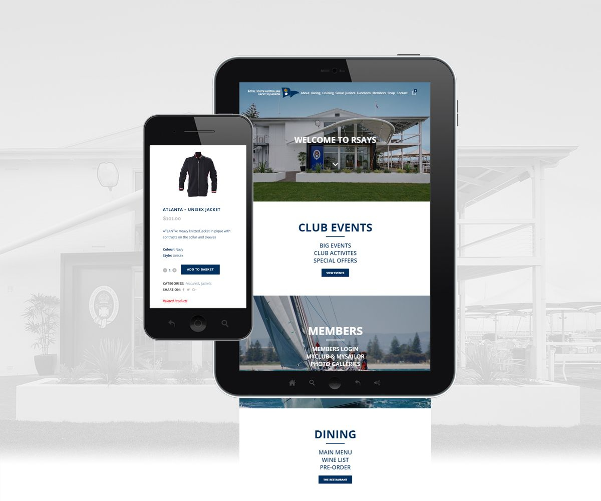 Mobile and tablet view of the Royal South Australian Yacht Squadron on mobile devices