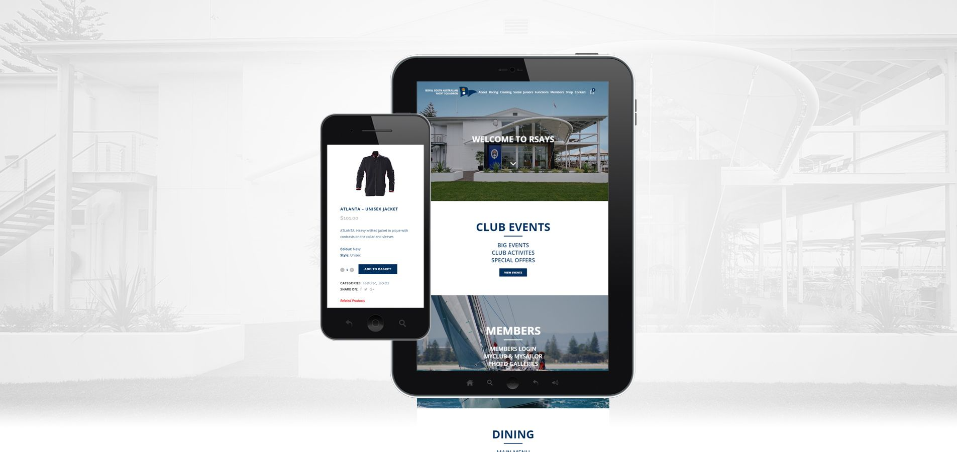 Mobile and tablet view of the Royal South Australian Yacht Squadron