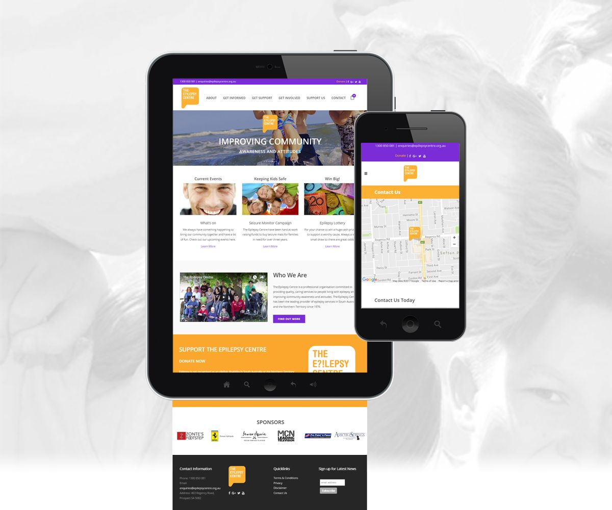 Mobile and Tablet view of the Epilepsy Centre for Mobile
