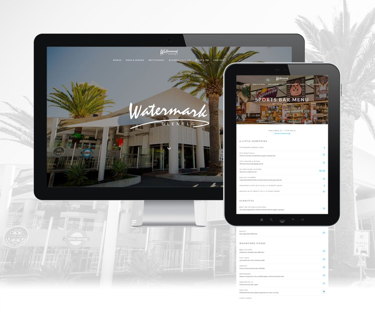 Desktop and tablet view of the Watermark Glenelg on mobile devices